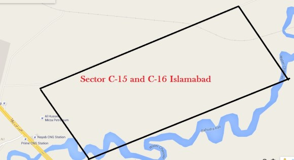 Sector C-15 and C-16 Islamabad Google Location Map