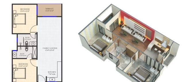 2 Bed Silver Apartment Layout Plan