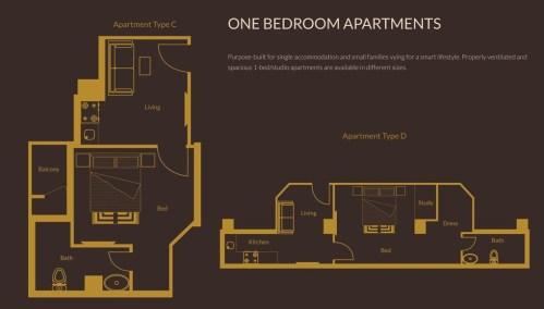 1 Bedroom Apartments Layout Plan 2 - Zarkon Heights Islamabad