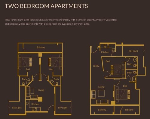 2 Bedroom Apartments Layout Plan - Zarkon Heights Islamabad