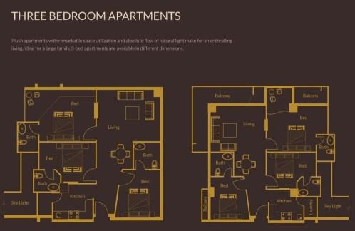 3 Bedroom Apartments Layout Plan - Zarkon Heights Islamabad