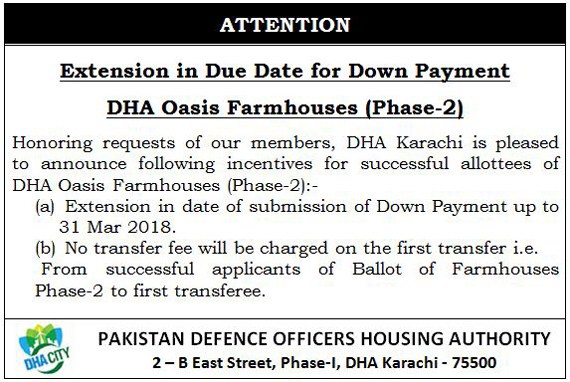 DHA Oasis Phase 2 Date Extension