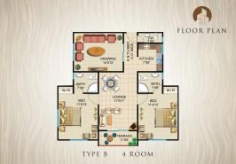 Type B-4-Rooms-Apartment-Layout-Plan
