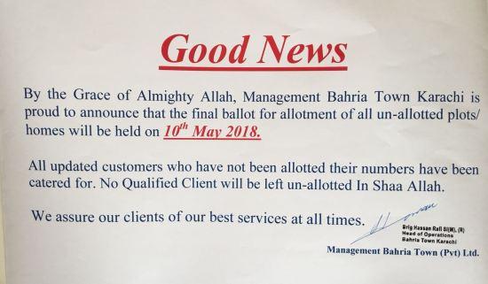 Bahria Town Karachi Final Balloting Date Notice