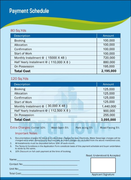 North Town Residency Karachi Payment Plan