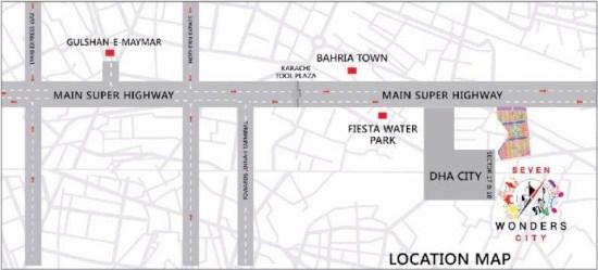 Seven Wonders City Karachi Location Map