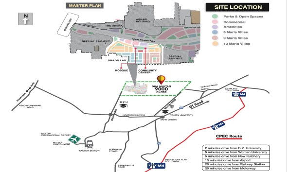DHA Multan Villas Location Map
