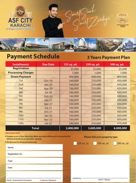 ASF City Karachi Payment Plan 3 Years