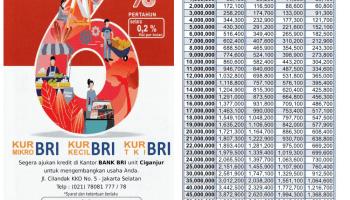 Tabel Cicilan Lengkap Dan Juga Bunganya Dari Kredit Usaha Rakyat BRI