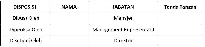 contoh SOP laporan manajemen risiko - pengesahan