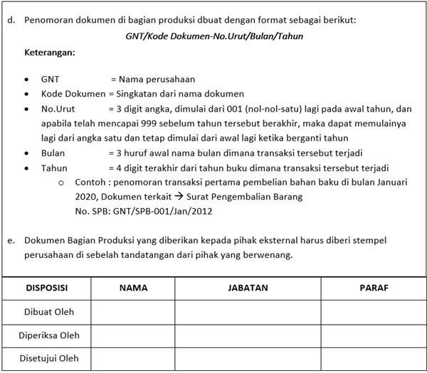 Contoh Standar Operasional Prosedur Produksi
