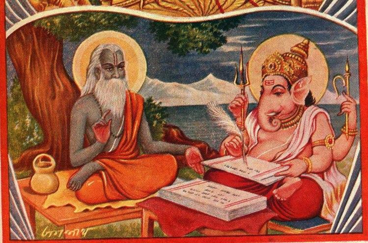 Vyasa dictating the epic Mahabhaarata to Ganesha