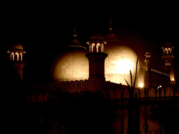 Domes of Badshahi Mosque at night