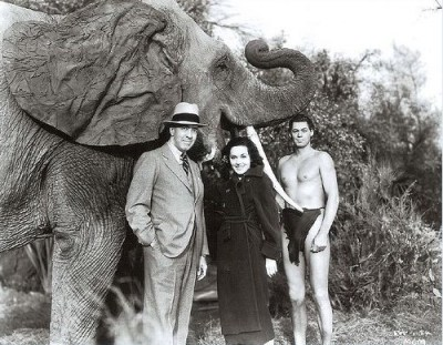 Edgar-Rice-Burroughs-the-creator-of-Tarzan-with-Maureen-OSullivan-and-Johnny-Weismuller