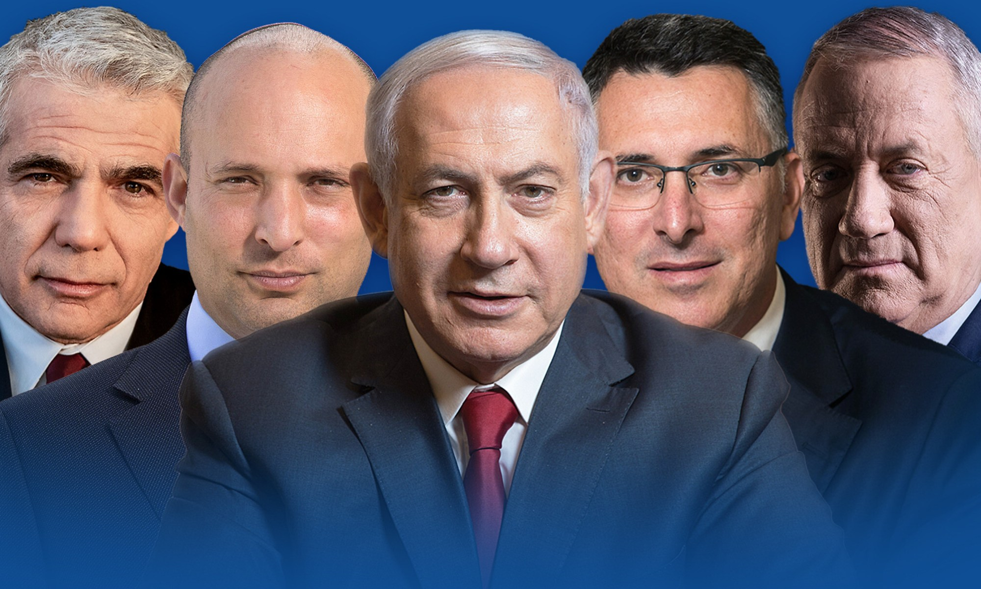 Graphic of Israeli party leaders with Netanyahu in the middle.