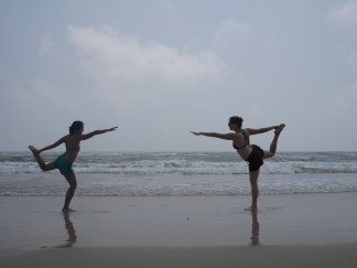 Beach yoga with Selina.