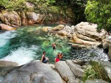 Swimming at Sarugajo Gorge