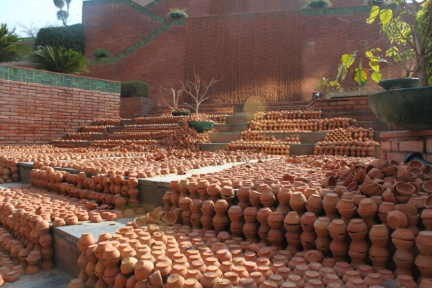 Manav Gupta Public Art Installations Excavations in hymns of clay waterfront India Habitat Centre 2