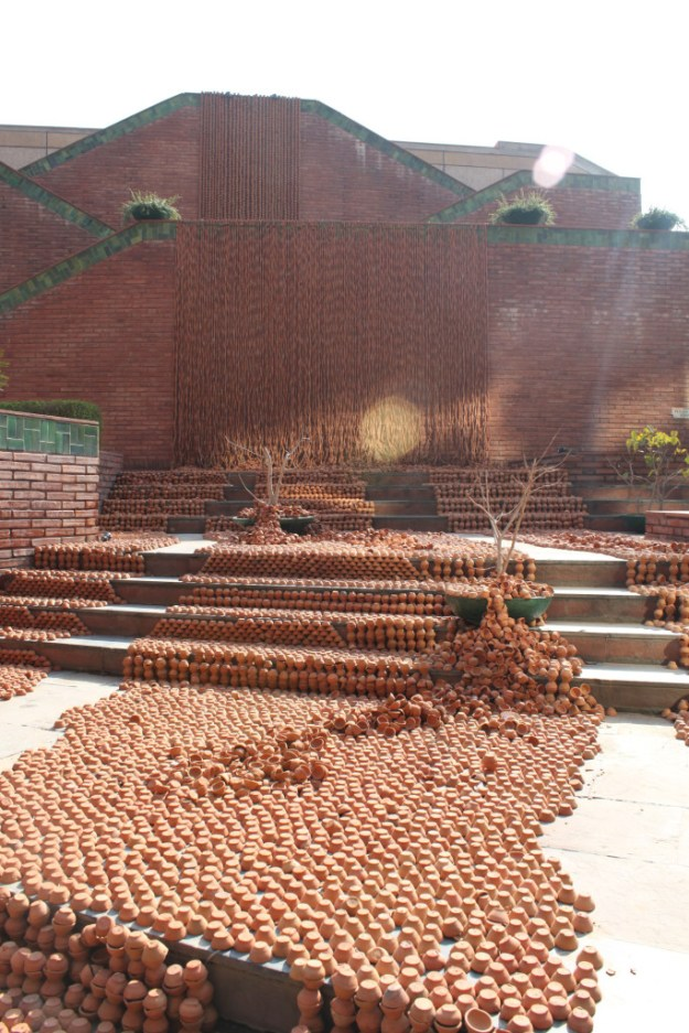 Manav Gupta Public Art Installations Excavations in hymns of clay waterfront India Habitat Centre 3