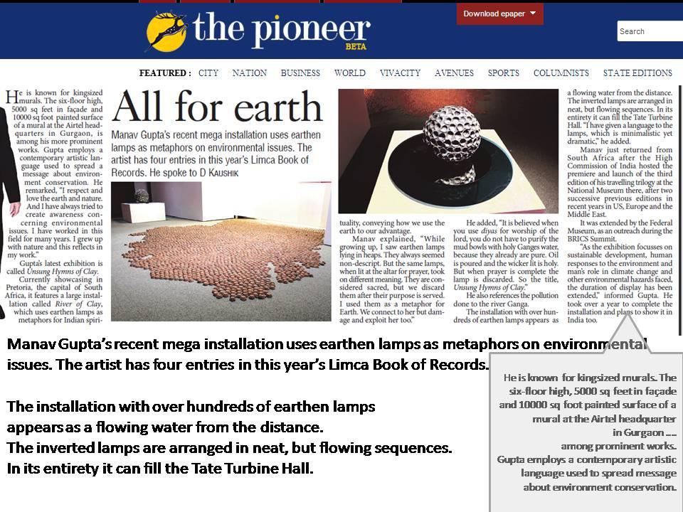 Pioneer, Manav Gupta's UNSUNG HYMNS OF CLAY ARTICLES