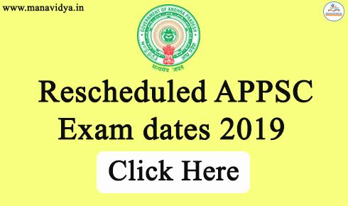 Rescheduled APPSC Exam dates 2019