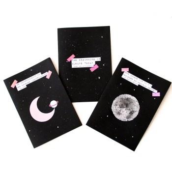DIY cartes de voeux cosmiques