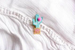 DIY broche cactus en brick-stitch (+ modèle Miyuki) graphic