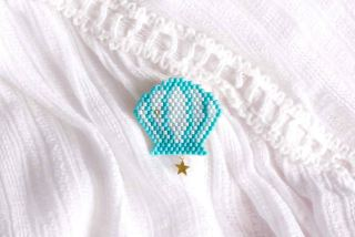 DIY broche coquillage en brick-stitch (+ diagramme Miyuki) graphic