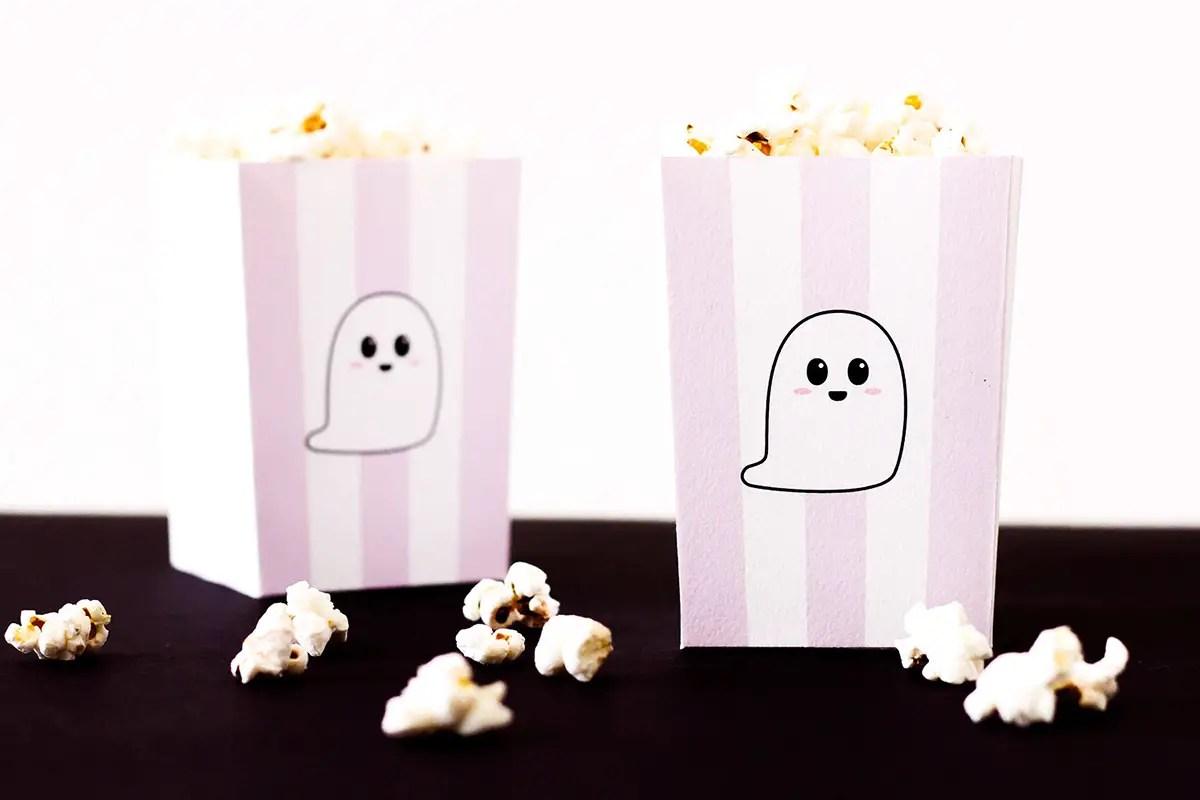 Déco Halloween : Boîtes à  pop-corn et sachets pour bonbons à imprimer