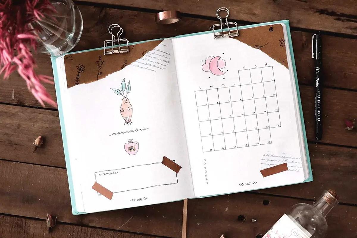 Bullet journal Novembre : idées de mise en page