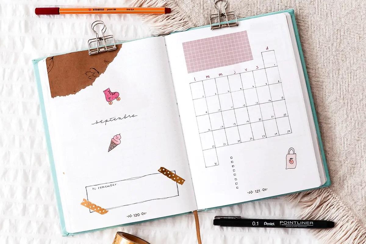 Bullet journal septembre : idée de mise en page et doodles