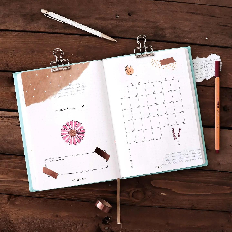 Bullet journal octobre - idée de mise en page