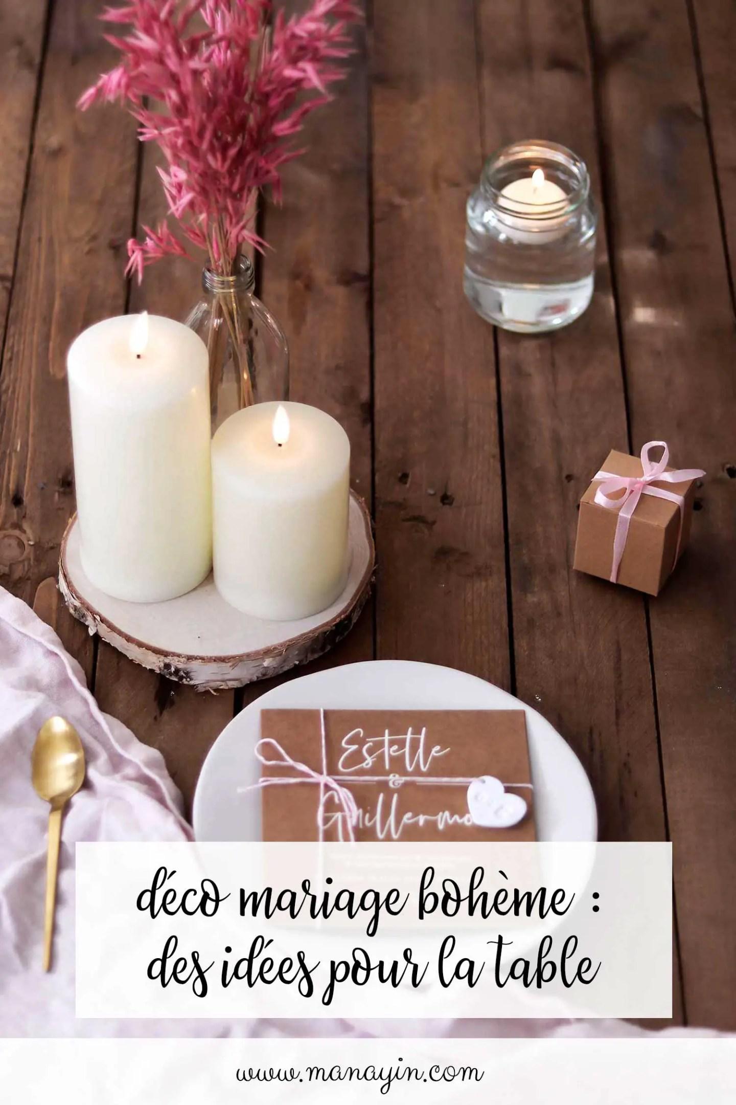 Déco mariage bohème table