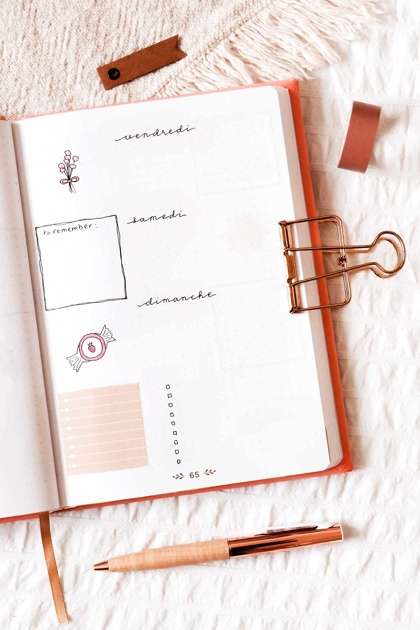 Page hebdomadaire bullet journal