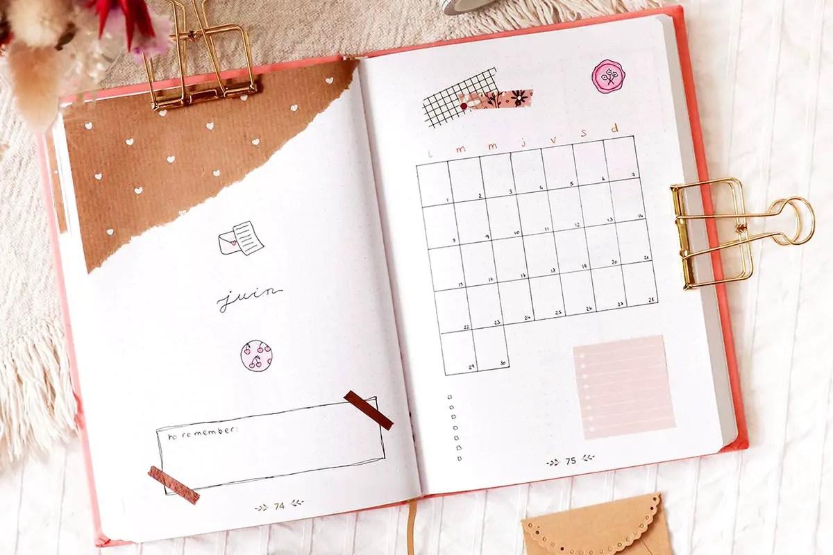 Bullet journal Juin : idée de mise en page colorée et printanière