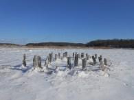 Hay staddles in Newbury, Massachusetts
