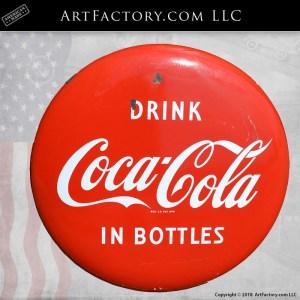 vintage Coke button sign, authentic Coca-Cola collectibles