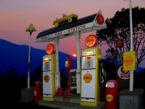 classic Shell gas station