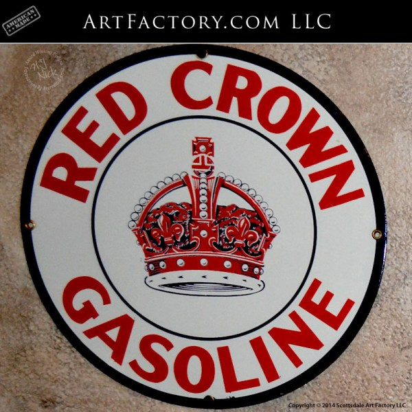 Red Crown Gasoline belly plate sign