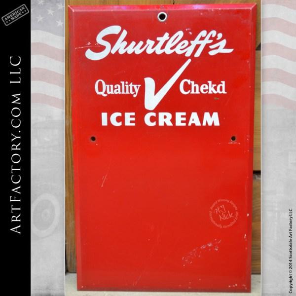 Vintage Shurtleff's Ice Cream Sign