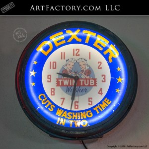 Dexter Twin Tub Washer Neon Clock