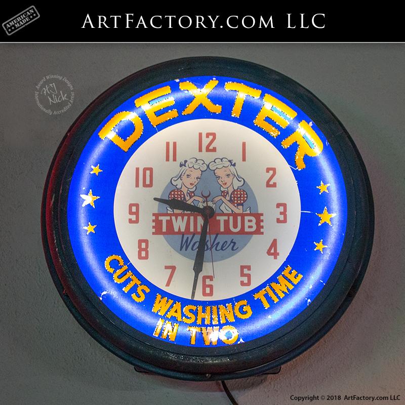 Dexter Twin Tub Washer Neon Clock