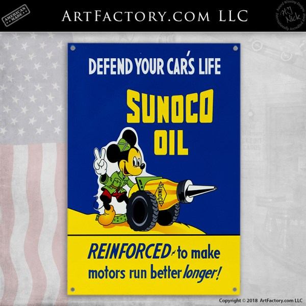 Disney Mickey Mouse Sunoco Oil sign