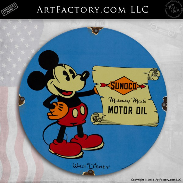 Mickey Mouse Sunoco Motor Oil Round Sign