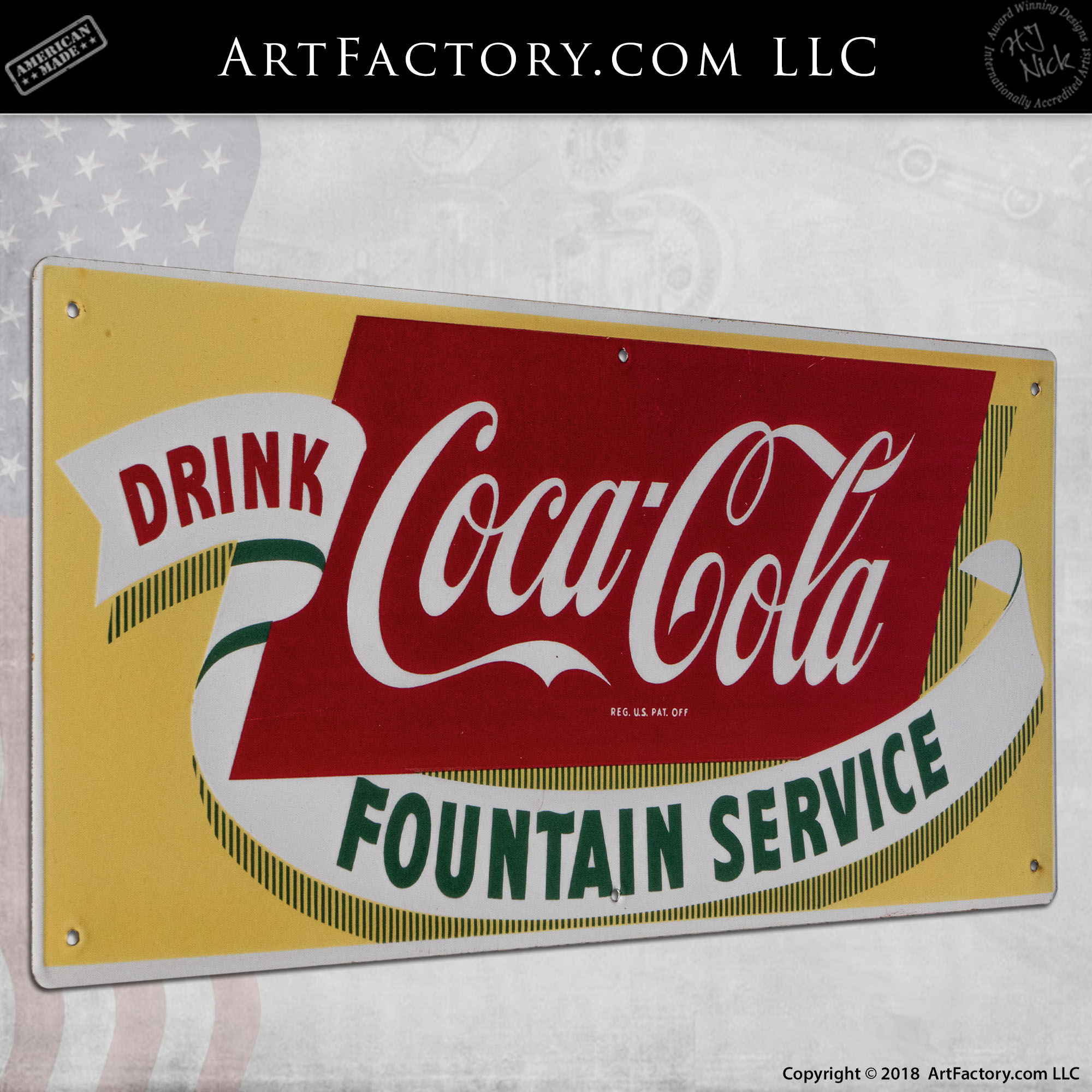 Vintage Coca-Cola Fountain Service Sign