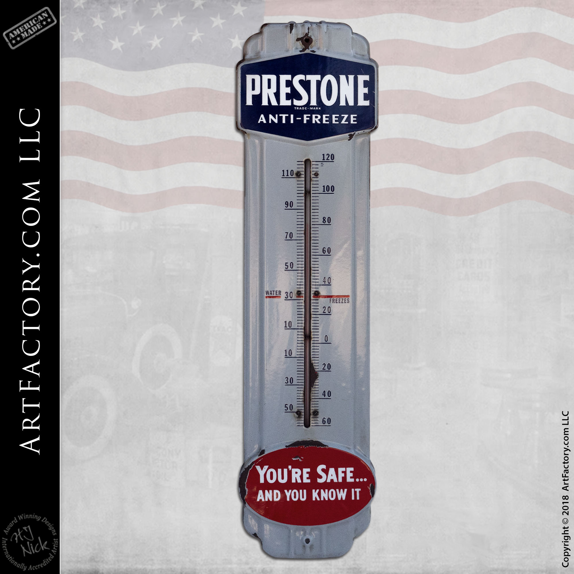 Vintage-Prestone Anti-Freeze-Thermometer
