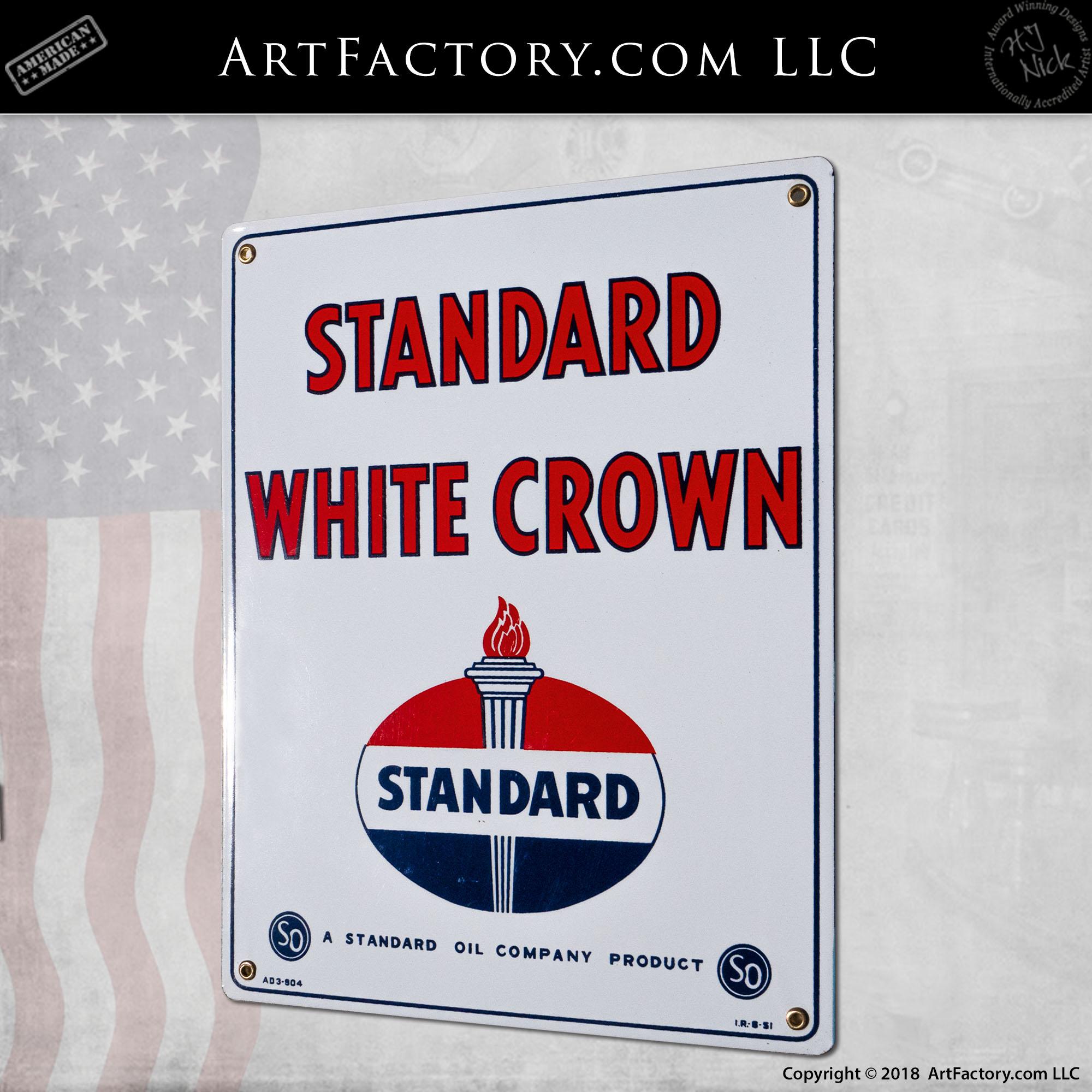 Standard White Crown Porcelain Sign