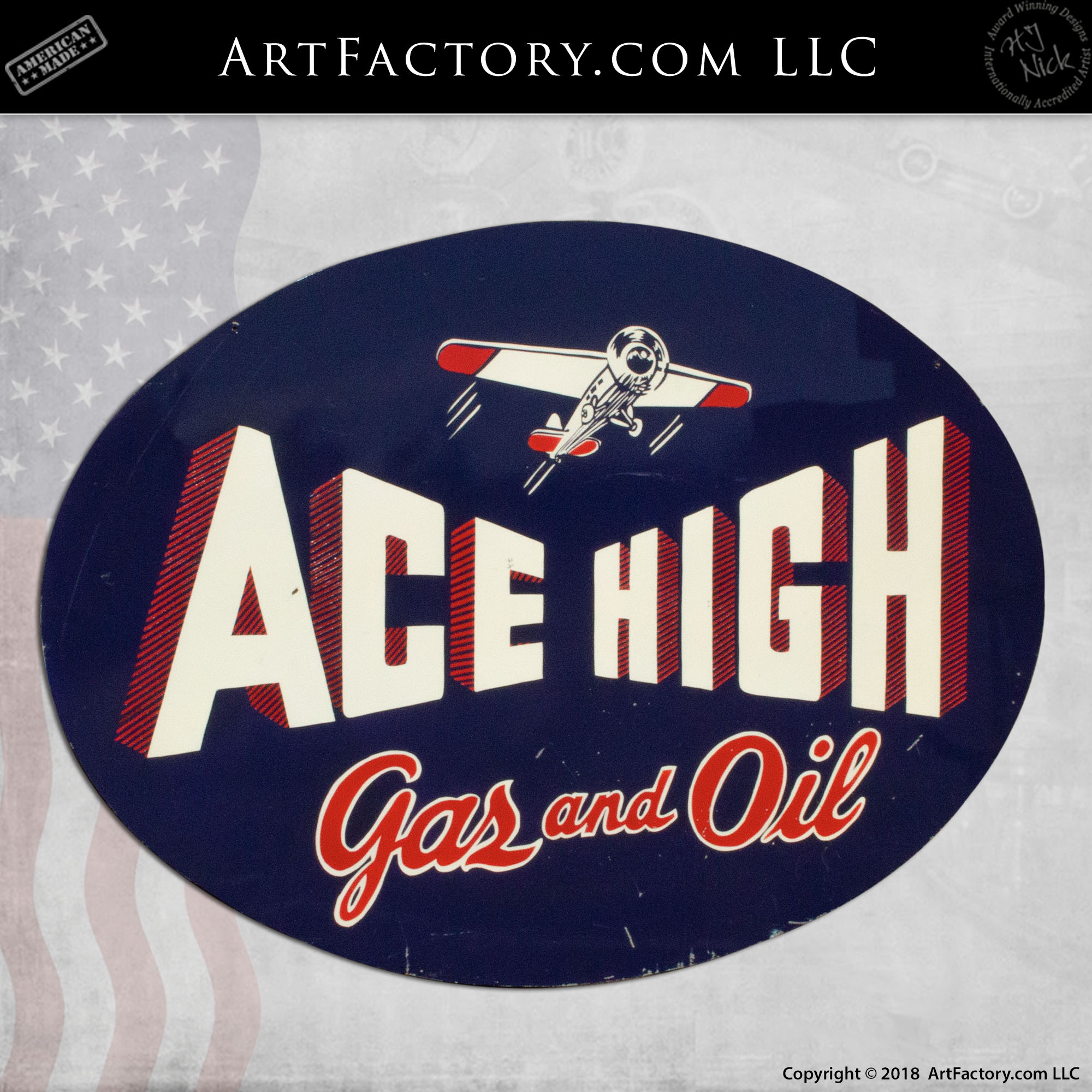 Ace High Gas and Oil Vintage Sign