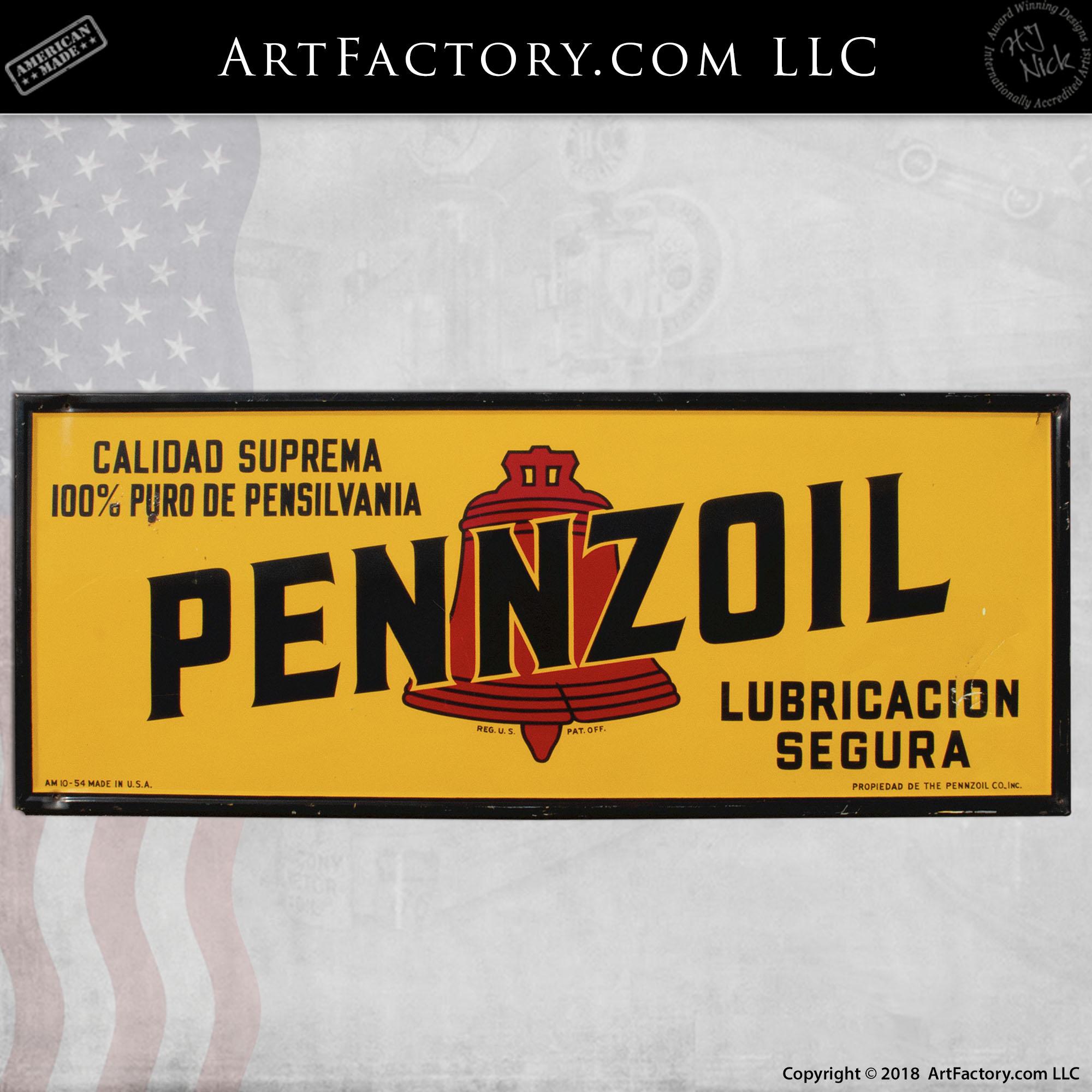Vintage Spanish Language Pennzoil Sign