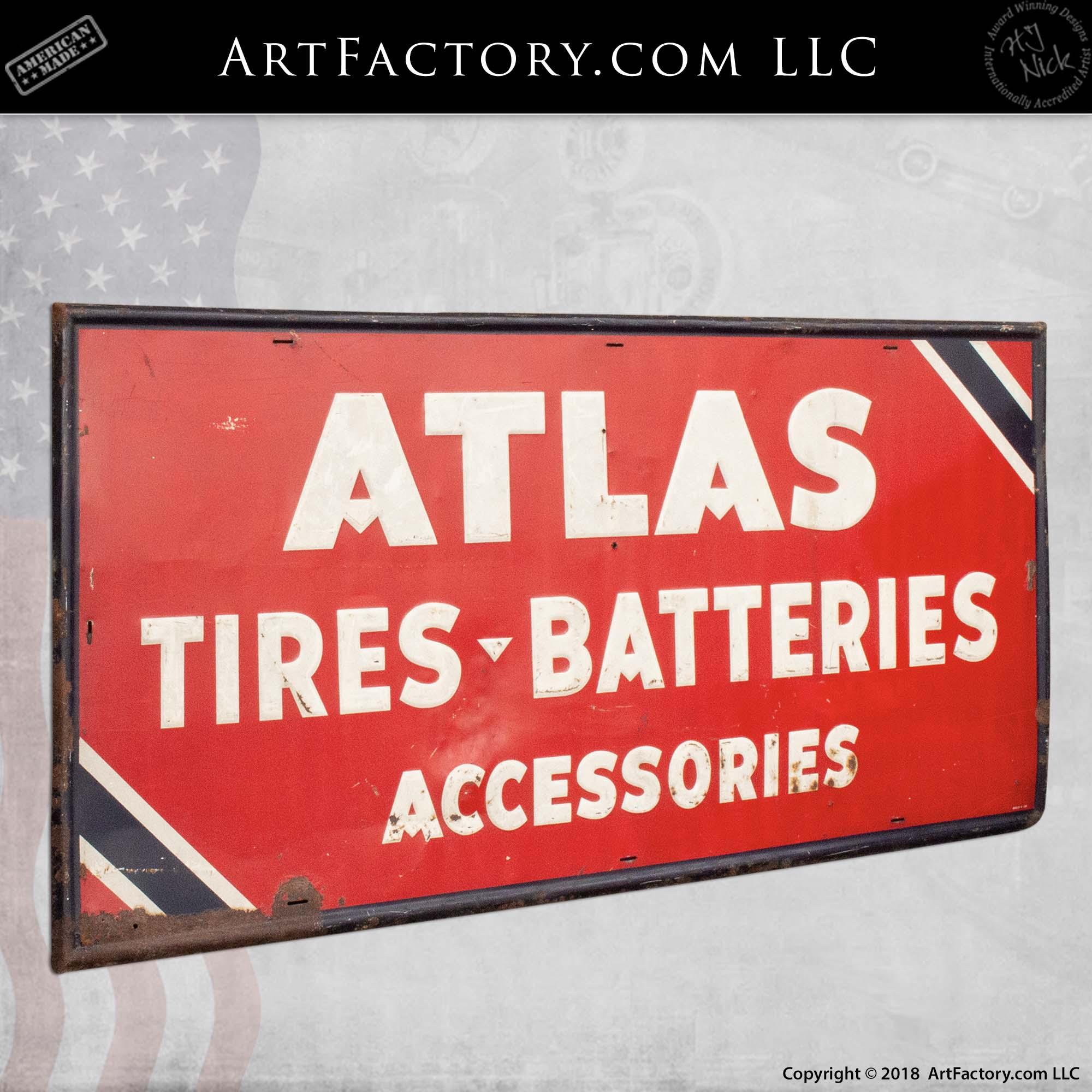 Atlas Tires Batteries Accessories Automotive Sign